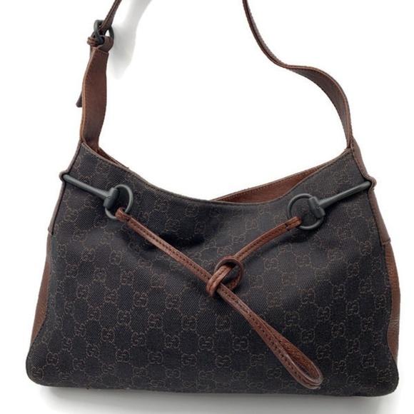 Authentic Gucci GG Black/Brown Shoulder bag